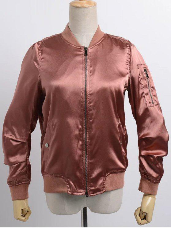 unique Satin Bomber Zippered Jacket - BRICK-RED M