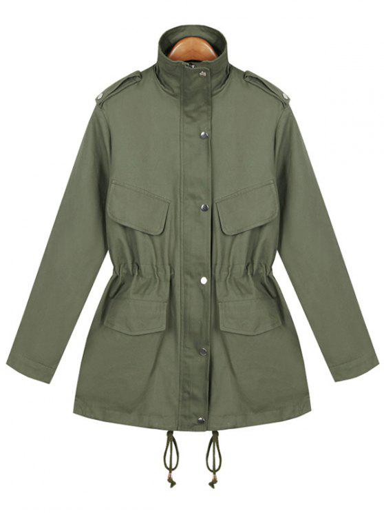 unique Loose String Utility Coat - ARMY GREEN ONE SIZE