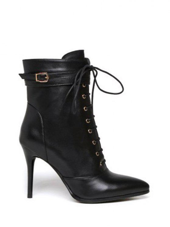 Leather Pointed Toe Lace-Up High Heel Boots BLACK: Boots 38 | ZAFUL