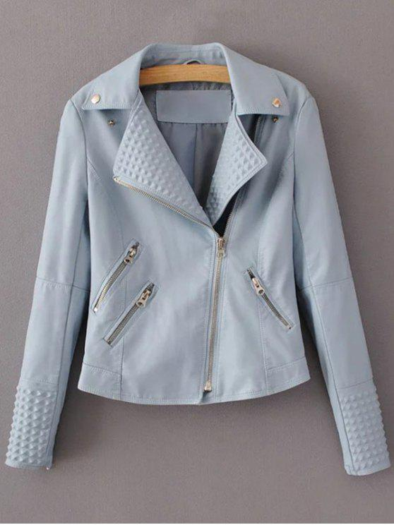 shop Zippered Lapel Collar Biker Jacket - LIGHT BLUE S