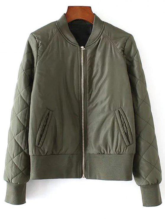 best Argyle Padded Jacket - ARMY GREEN M