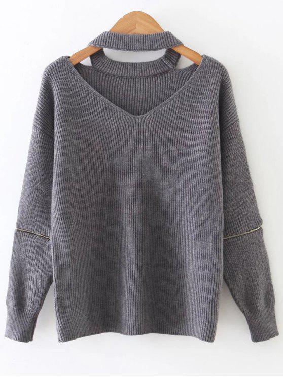 shops Zipper Sleeve Cut Out Choker Sweater - GRAY ONE SIZE