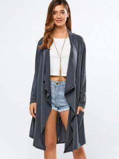 Long Sleeve Back Slit Long Cardigan - Deep Gray S