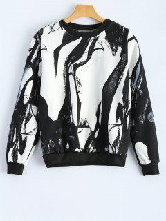 Pullover Splash-Ink Loose Sweatshirt - White And Black L