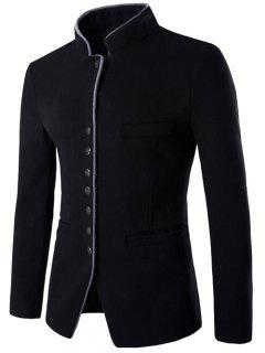 Slim-Fit Stand Collar Wool Blend Blazer - Black M