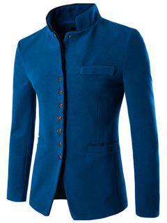 Slim-Fit Stand Collar Wool Blend Blazer - Lake Blue L