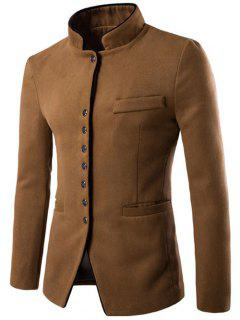 Slim-Fit Stand Collar Wool Blend Blazer - Camel L