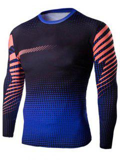 Slim-Fit Quick-Dry Long Sleeve Ombre T-Shirt - Sapphire Blue 2xl