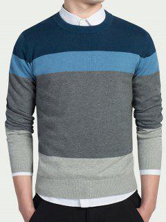 Striped Long Sleeves Crew Neck Knitwear - Light Blue M