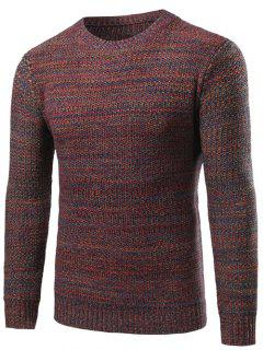 Crew Neck Knit Blends Sweater - Red L