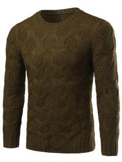 Crew Neck Geometric Kink Design Long Sleeve Sweater - Army Green M
