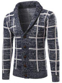 Shawl Collar Button Up Checked Cardigan - Cadetblue M