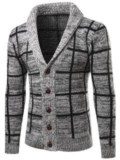 Shawl Collar Button Up Checked Cardigan - Gray 2xl