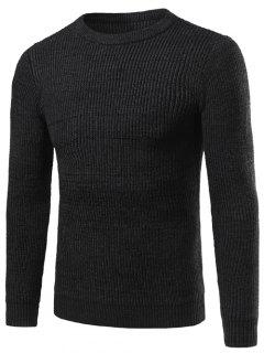 Crew Neck Vertical Stripe Knitting Long Sleeve Sweater - Black 2xl