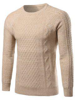 Crew Neck Kink Design Raglan Sleeve Sweater - Off-white M