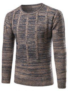 Crew Neck Vertical Stripe Kink Knit Blends Long Sleeve Sweater - Blue Gray Xl