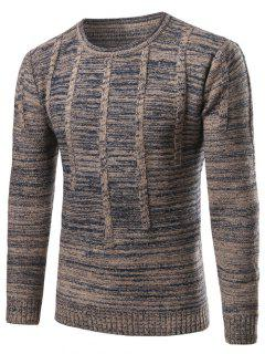Crew Neck Vertical Stripe Kink Knit Blends Long Sleeve Sweater - Blue Gray L