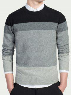 Striped Long Sleeves Crew Neck Knitwear - Black Xl