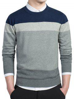 Striped Long Sleeves Crew Neck Knitwear - Deep Blue L