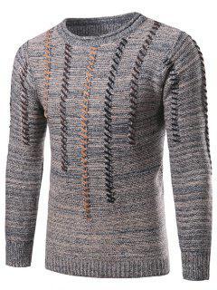Crew Neck Vertical Stripe Color Block Kink Knit Blends Sweater - Light Gray 2xl