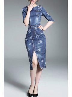 Front Slit Fitted Denim Dress - Denim Blue S