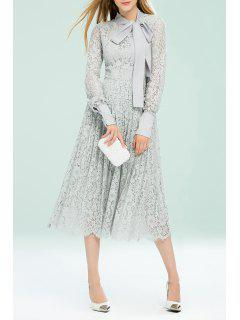 Bow Tie Lace Pleated Dress - Light Gray Xl