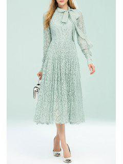 Bow Tie Lace Pleated Dress - Light Green Xl
