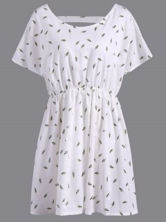 Refreshing V-Neck Short Sleeve Leaf Print Plus Size Women's Blouse - White 3xl