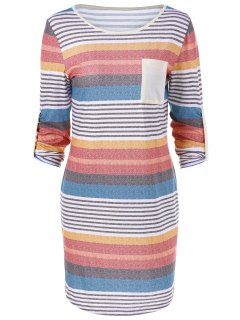 Colorful Single Pocket Striped T-Shirt Dress - Stripe M
