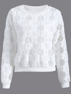 Flocked Mesh Sweatshirt - White L