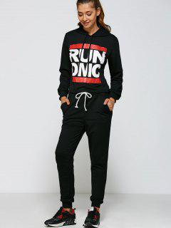 Graphic Pullover Hoodie And Pants - Black S