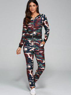 Camo Print Jacket And Pants - Camouflage S