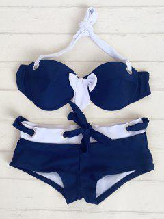 Halter Drawstring Bowknot Bikini - Blue Xl