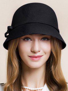 Pequeño Bowknot Con Cordones De Sombrero Cloche - Negro