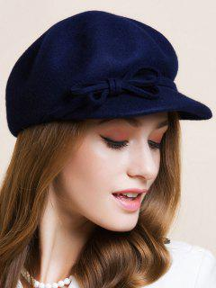 Double Bowknot Lace-Up Newsboy Hat - Deep Blue