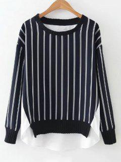 High Low Stripes Spliced Blouse - White And Black S