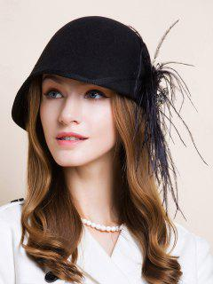 Long Feathers Rhinestone Flower Fedora - Black