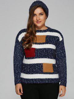 Color Block Plus Size Pullover Sweater - Deep Blue