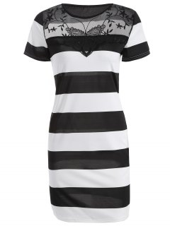 Mesh Spliced Striped Bodycon Dress - White And Black S