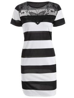 Mesh Spliced Striped Bodycon Dress - White And Black Xl