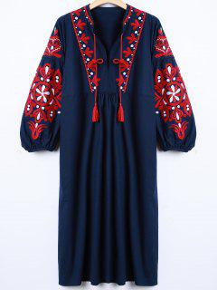 Retro Embroidered Lantern Sleeve Dress - Cadetblue S