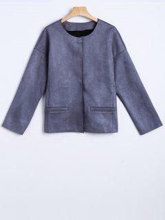 Wool Blend Cropped Jacket - Deep Gray S