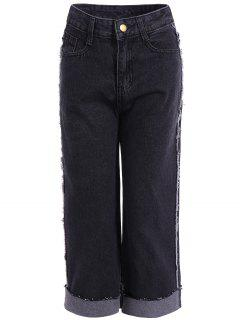 Frayed Hemming Jeans - Black M