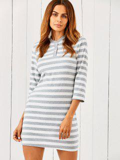 Striped Slimming Sweater Dress - Grey And White M