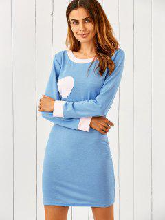 Coeur Patch Bodycon Robe T-shirt - Bleu Léger  M