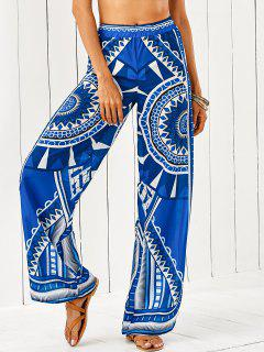 African Retro Print Palazzo Pants - Blue S