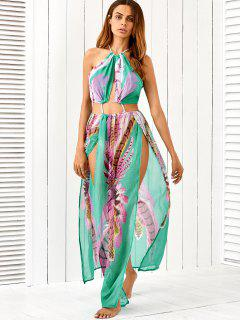 Slit Cutout Drawstring Printed Maxi Dress - Turquoise S