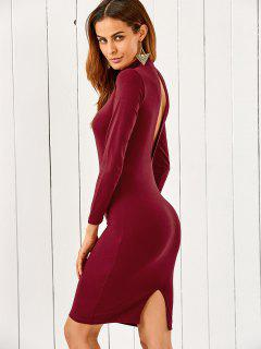 Back Cutout Pencil Dress - Wine Red M