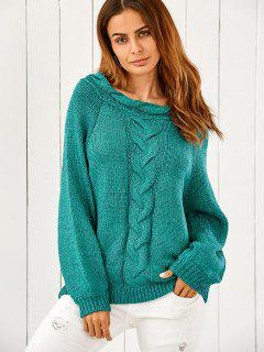 Puffed Sleeve Chunky Sweater - Green