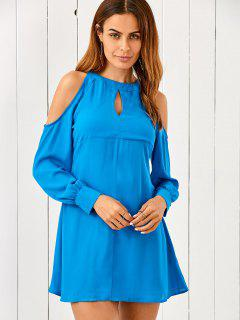 Cut Out Cold Shoulder Chiffon Dress - Blue S